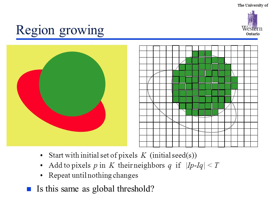 The University of Ontario Region growing n Is this same as global threshold? Start with initial set of pixels K (initial seed(s)) Add to pixels p in K