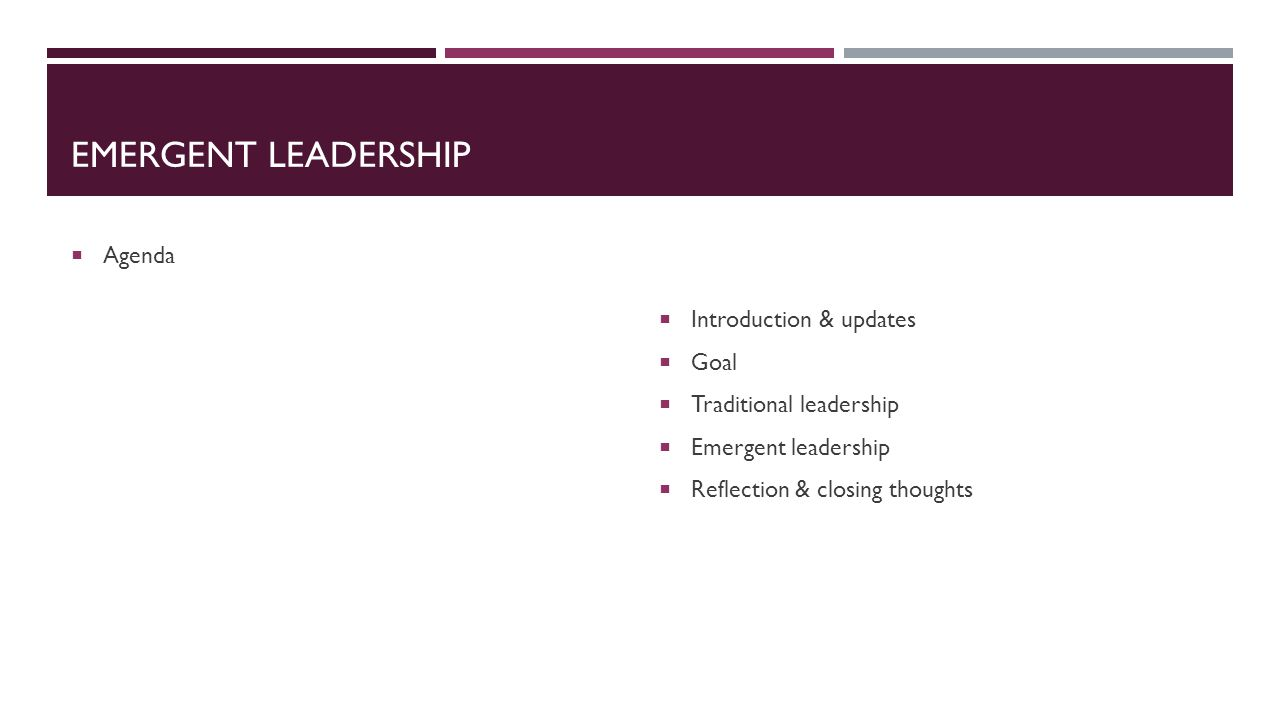 EMERGENT LEADERSHIP  Agenda  Introduction & updates  Goal  Traditional leadership  Emergent leadership  Reflection & closing thoughts