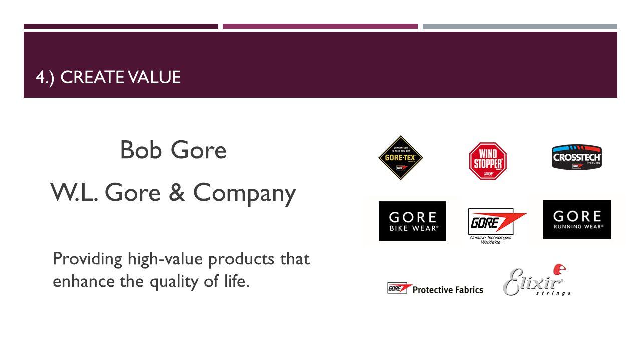 4.) CREATE VALUE Bob Gore W.L.