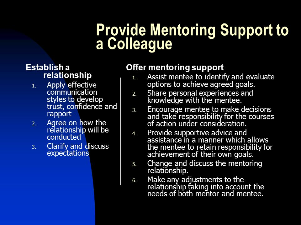 The Mentoring Process Goal setting Observation Analysis Providing feedback Action planning Review