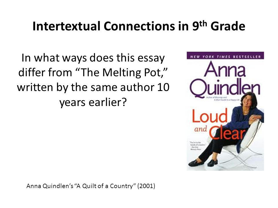 "Intertextual Connections in 9 th Grade In what ways does this essay differ from ""The Melting Pot,"" written by the same author 10 years earlier? Anna Q"