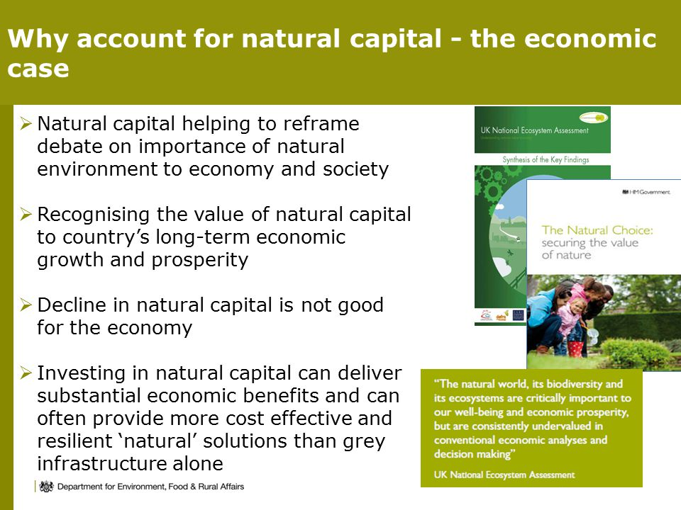  Natural capital helping to reframe debate on importance of natural environment to economy and society  Recognising the value of natural capital to country's long-term economic growth and prosperity  Decline in natural capital is not good for the economy  Investing in natural capital can deliver substantial economic benefits and can often provide more cost effective and resilient 'natural' solutions than grey infrastructure alone Why account for natural capital - the economic case