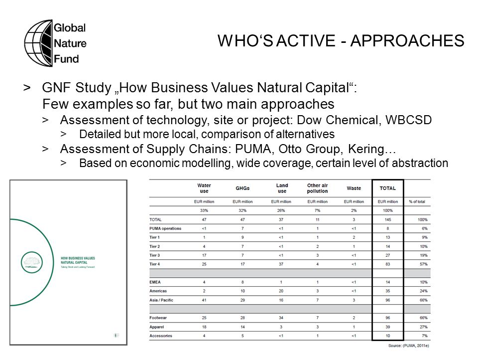 "WHO'S ACTIVE - APPROACHES  GNF Study ""How Business Values Natural Capital : Few examples so far, but two main approaches  Assessment of technology, site or project: Dow Chemical, WBCSD  Detailed but more local, comparison of alternatives  Assessment of Supply Chains: PUMA, Otto Group, Kering…  Based on economic modelling, wide coverage, certain level of abstraction"