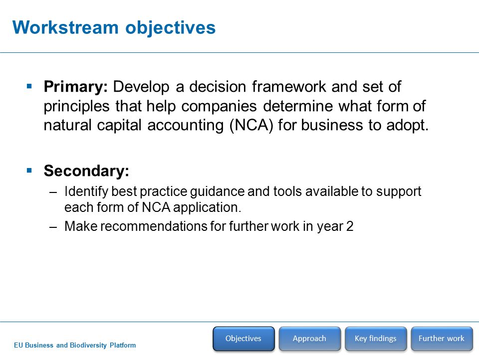 EU Business and Biodiversity Platform Approach Objectives Approach Key findings Further work  Developed initial guide & decision-matrix tool with Full Member companies –Questionnaire on NCA perspectives and activities –½ day workshop in Brussels (28 th April)  Full Members reviewed/piloted guide & tool –½ day workshop in Brussels (22 nd Sept)  Circulated initial & final draft guide to All Members