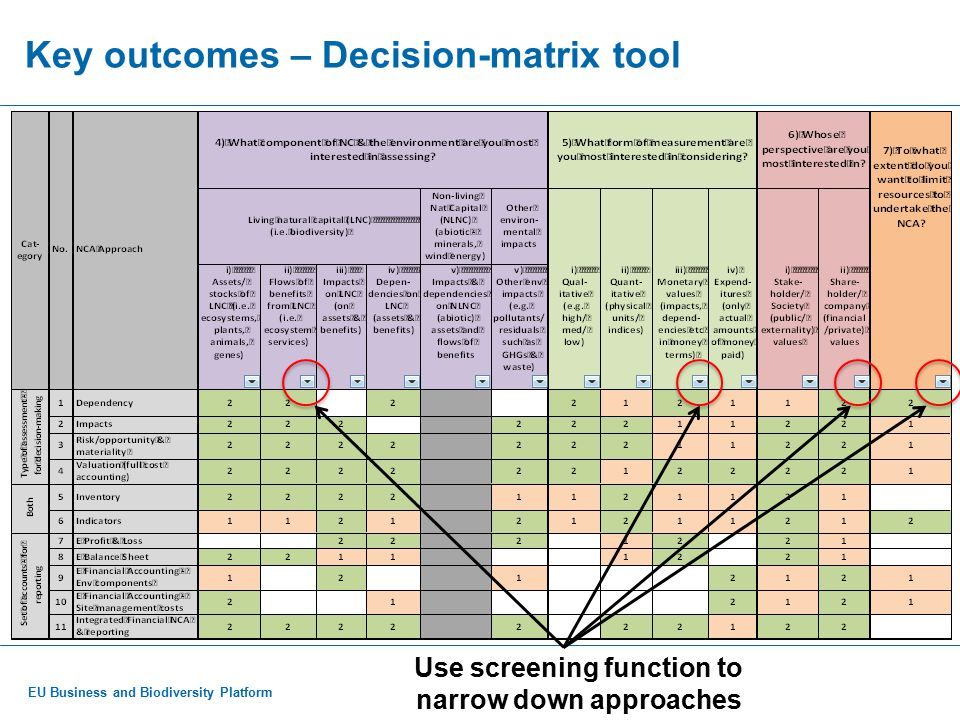 EU Business and Biodiversity Platform Key outcomes – Decision-matrix tool So, if interested in: The flow of NC benefits (i.e.