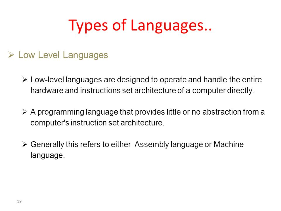 Types of Languages..