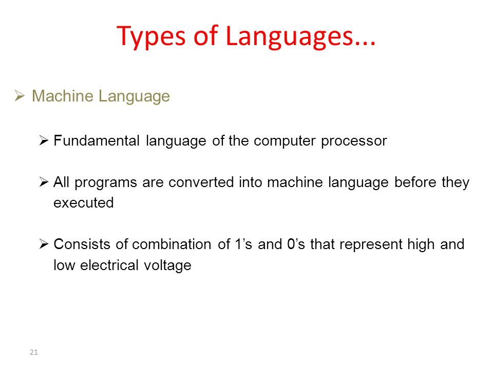 Types of Languages...