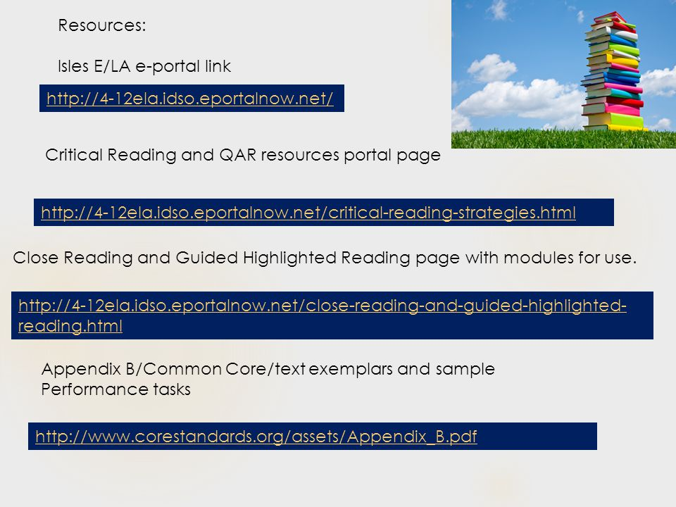 Resources: Isles E/LA e-portal link Critical Reading and QAR resources portal page Close Reading and Guided Highlighted Reading page with modules for use.