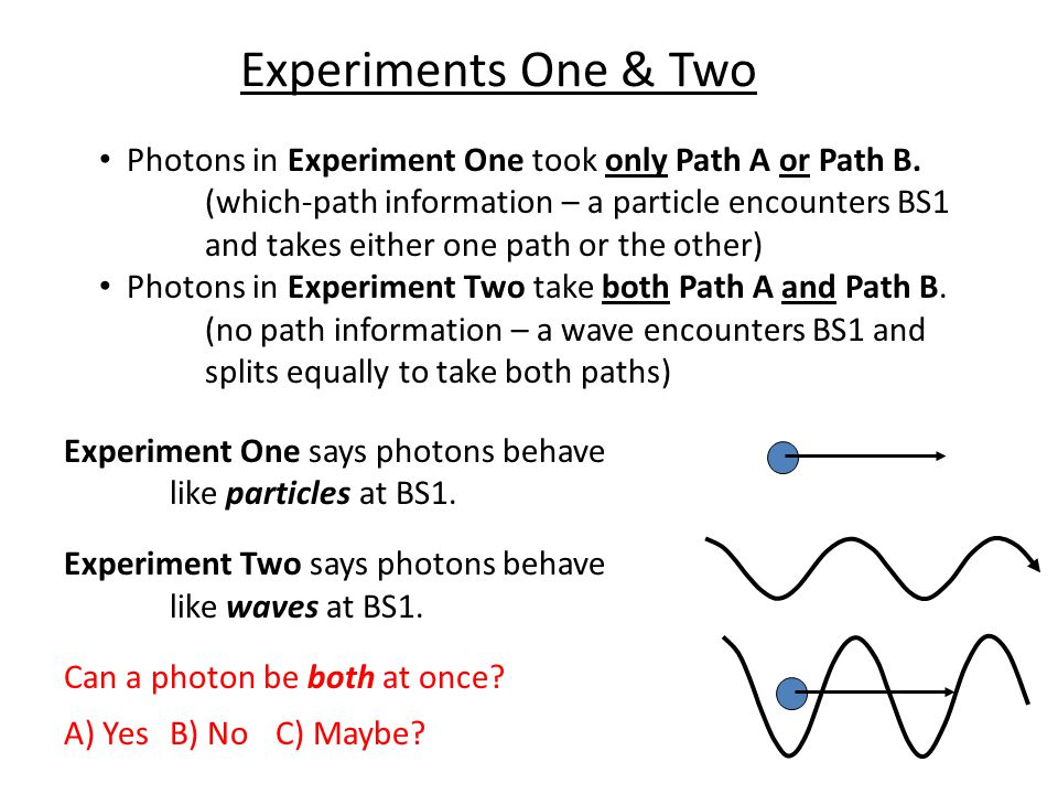 Experiments One & Two Photons in Experiment One took only Path A or Path B.