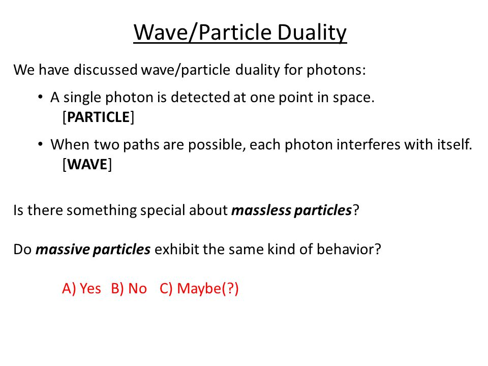 Wave/Particle Duality We have discussed wave/particle duality for photons: A single photon is detected at one point in space.