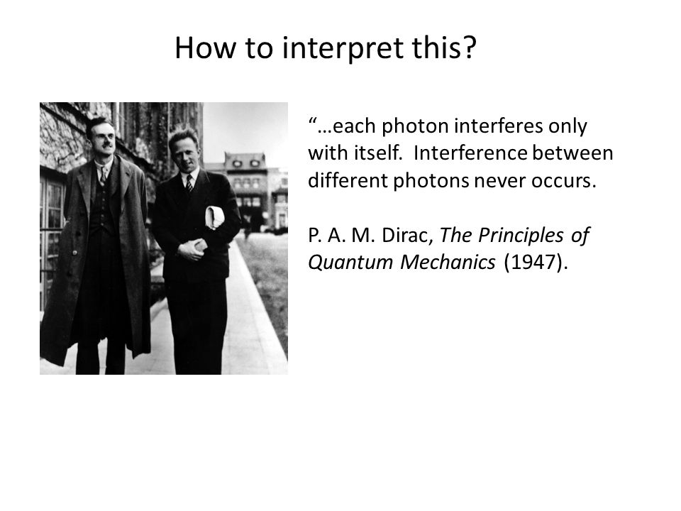 …each photon interferes only with itself. Interference between different photons never occurs.