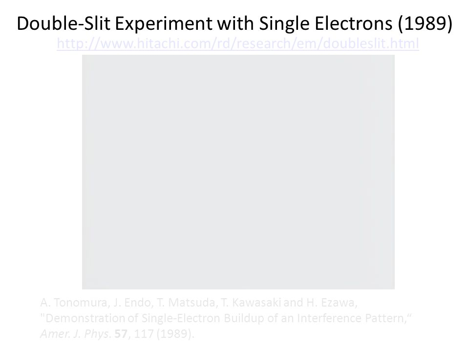 Double-Slit Experiment with Single Electrons (1989) A.