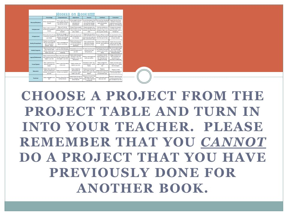CHOOSE A PROJECT FROM THE PROJECT TABLE AND TURN IN INTO YOUR TEACHER. PLEASE REMEMBER THAT YOU CANNOT DO A PROJECT THAT YOU HAVE PREVIOUSLY DONE FOR