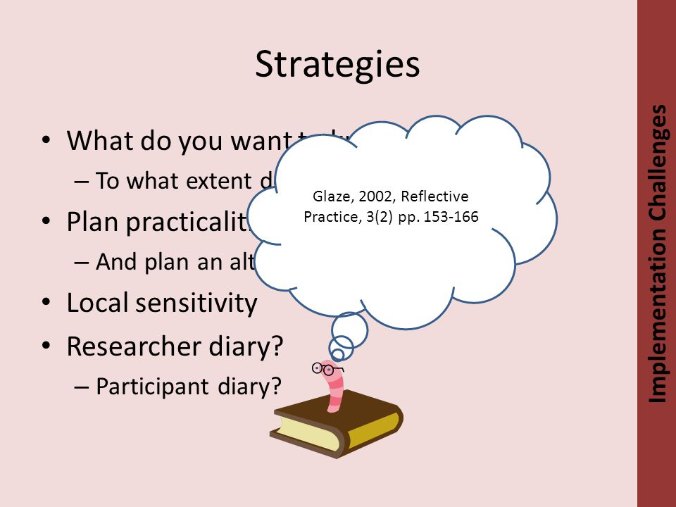 Strategies What do you want to know. – To what extent do you manage.