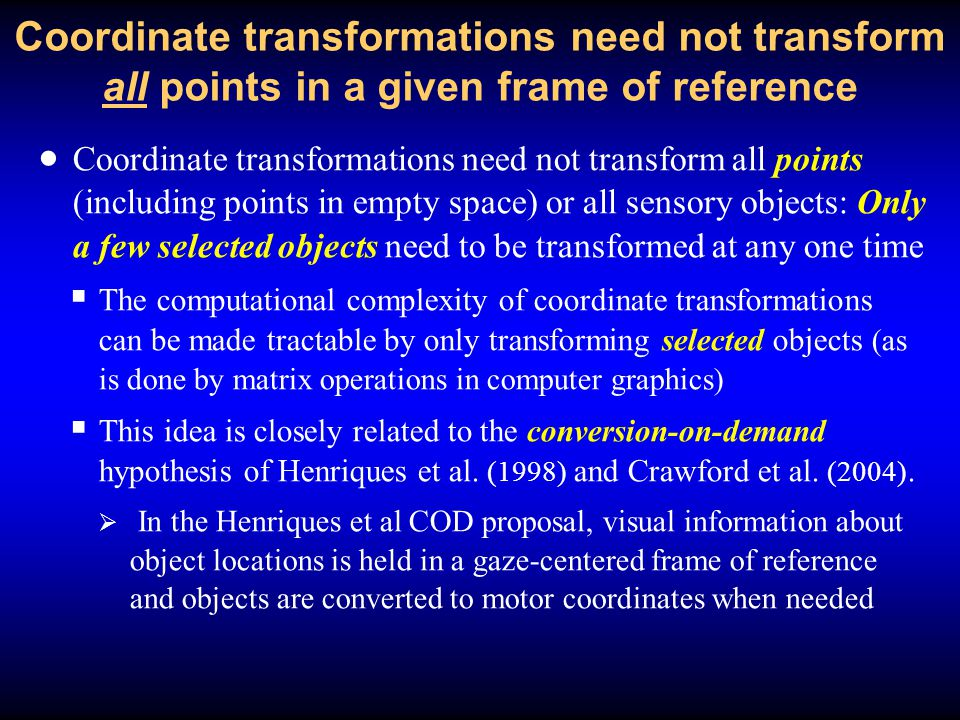 Coordinate transformations define equivalence classes of gestures which individuate proprioceptive objects just the way that FINST indexes do in vision  Coordinate transformations compute equivalence classes of proprioceptive signals {s} corresponding to distinct motor actions to individual objects in real space.