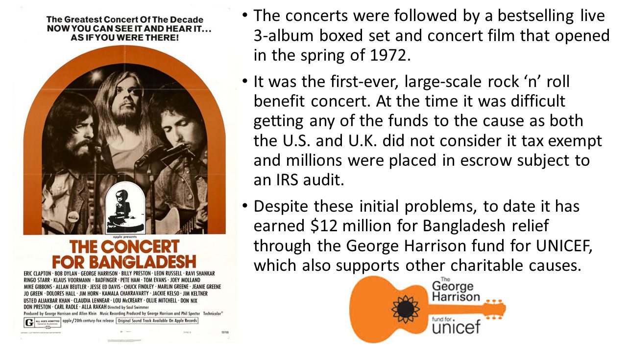 The concerts were followed by a bestselling live 3-album boxed set and concert film that opened in the spring of 1972. It was the first-ever, large-sc