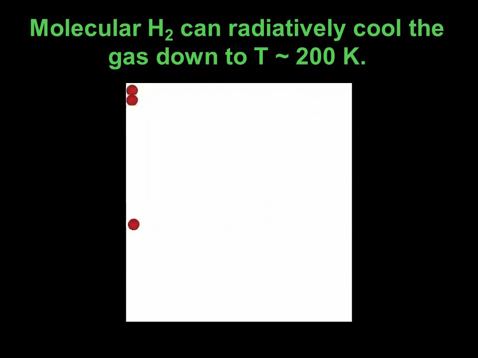 Molecular H 2 can radiatively cool the gas down to T ~ 200 K.