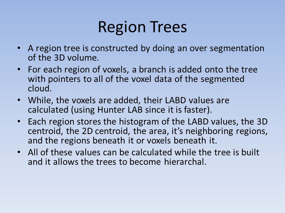 Region Trees A region tree is constructed by doing an over segmentation of the 3D volume.