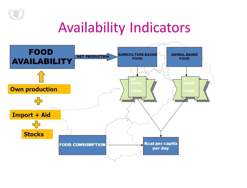 Availability Indicators FOOD AVAILABILITY NET PRODUCTION AGRICULTURE-BASED FOOD ANIMAL-BASED FOOD 4 FOOD ITEMS 4 FOOD ITEMS Kcal per capita per day FO
