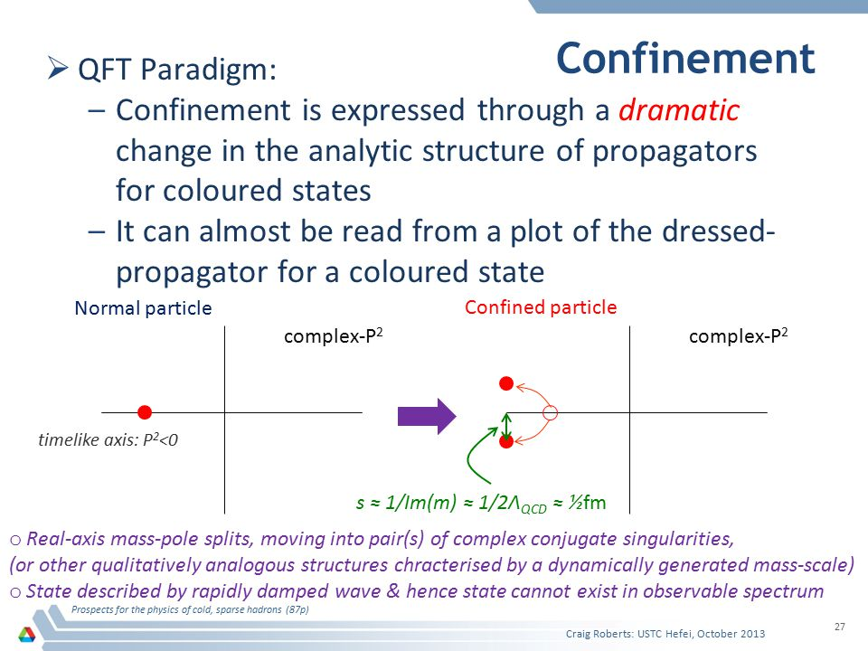 Confinement  QFT Paradigm: –Confinement is expressed through a dramatic change in the analytic structure of propagators for coloured states –It can almost be read from a plot of the dressed- propagator for a coloured state Craig Roberts: USTC Hefei, October 2013 Prospects for the physics of cold, sparse hadrons (87p) 27 complex-P 2 o Real-axis mass-pole splits, moving into pair(s) of complex conjugate singularities, (or other qualitatively analogous structures chracterised by a dynamically generated mass-scale) o State described by rapidly damped wave & hence state cannot exist in observable spectrum Normal particle Confined particle timelike axis: P 2 <0 s ≈ 1/Im(m) ≈ 1/2Λ QCD ≈ ½fm