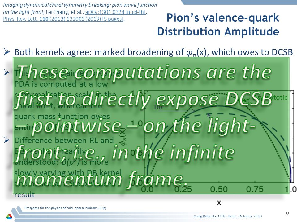 Pion's valence-quark Distribution Amplitude  Both kernels agree: marked broadening of φ π (x), which owes to DCSB Craig Roberts: USTC Hefei, October 2013 Prospects for the physics of cold, sparse hadrons (87p) 68 Asymptotic RL DB  This may be claimed because PDA is computed at a low renormalisation scale in the chiral limit, whereat the quark mass function owes entirely to DCSB.