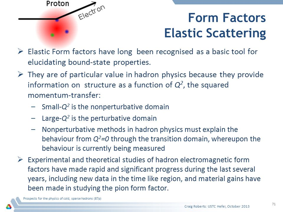 Form Factors Elastic Scattering Craig Roberts: USTC Hefei, October 2013 Prospects for the physics of cold, sparse hadrons (87p) 71  Elastic Form factors have long been recognised as a basic tool for elucidating bound-state properties.