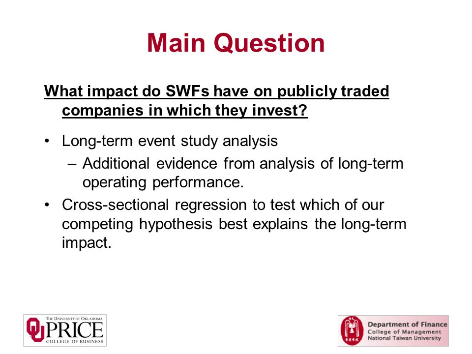Main Question What impact do SWFs have on publicly traded companies in which they invest.