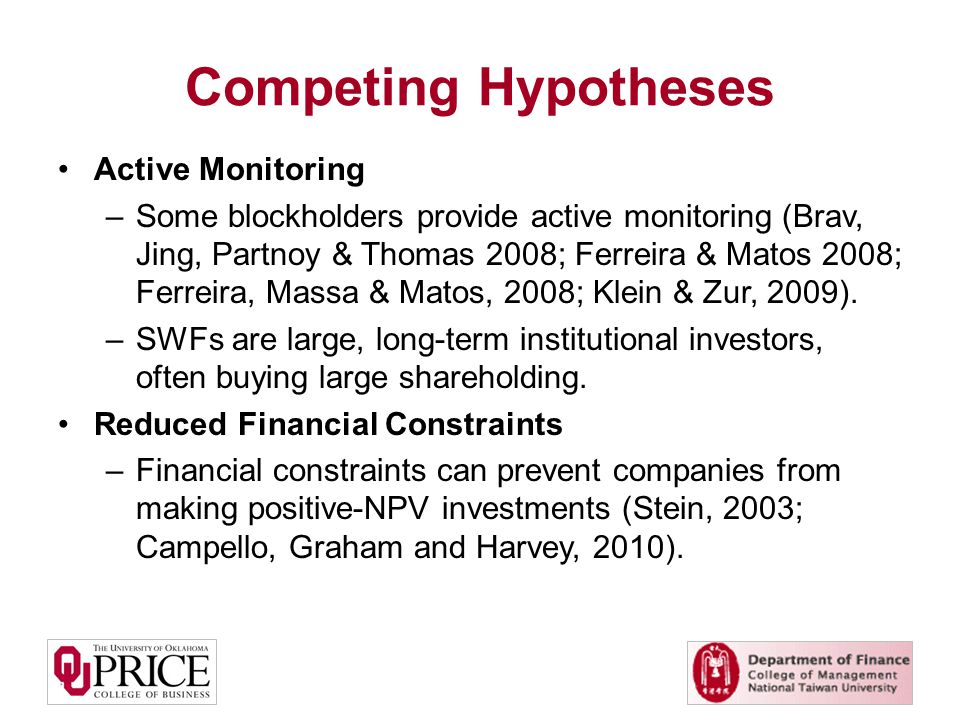 Competing Hypotheses Active Monitoring –Some blockholders provide active monitoring (Brav, Jing, Partnoy & Thomas 2008; Ferreira & Matos 2008; Ferreira, Massa & Matos, 2008; Klein & Zur, 2009).
