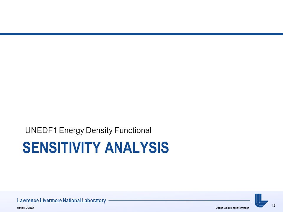 14 Option:UCRL#Option:Additional Information Lawrence Livermore National Laboratory SENSITIVITY ANALYSIS UNEDF1 Energy Density Functional