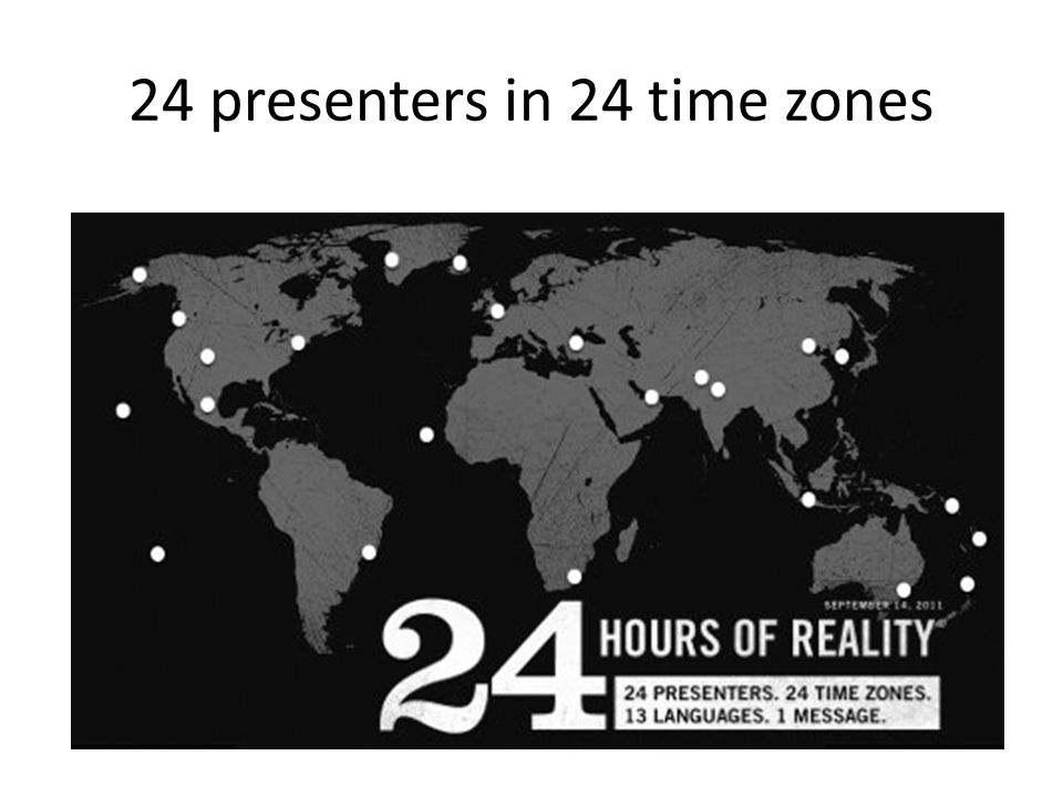 24 presenters in 24 time zones