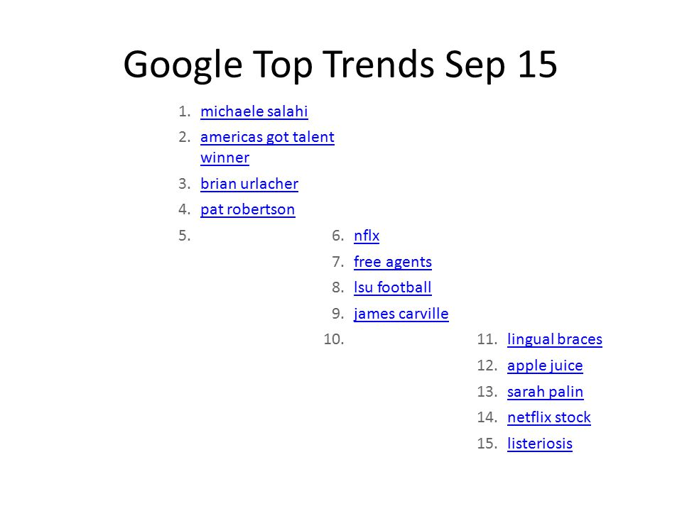 Google Top Trends Sep 15 1.michaele salahi 2.americas got talent winner 3.brian urlacher 4.pat robertson 5.6.nflx 7.free agents 8.lsu football 9.james carville 10.11.lingual braces 12.apple juice 13.sarah palin 14.netflix stock 15.listeriosis