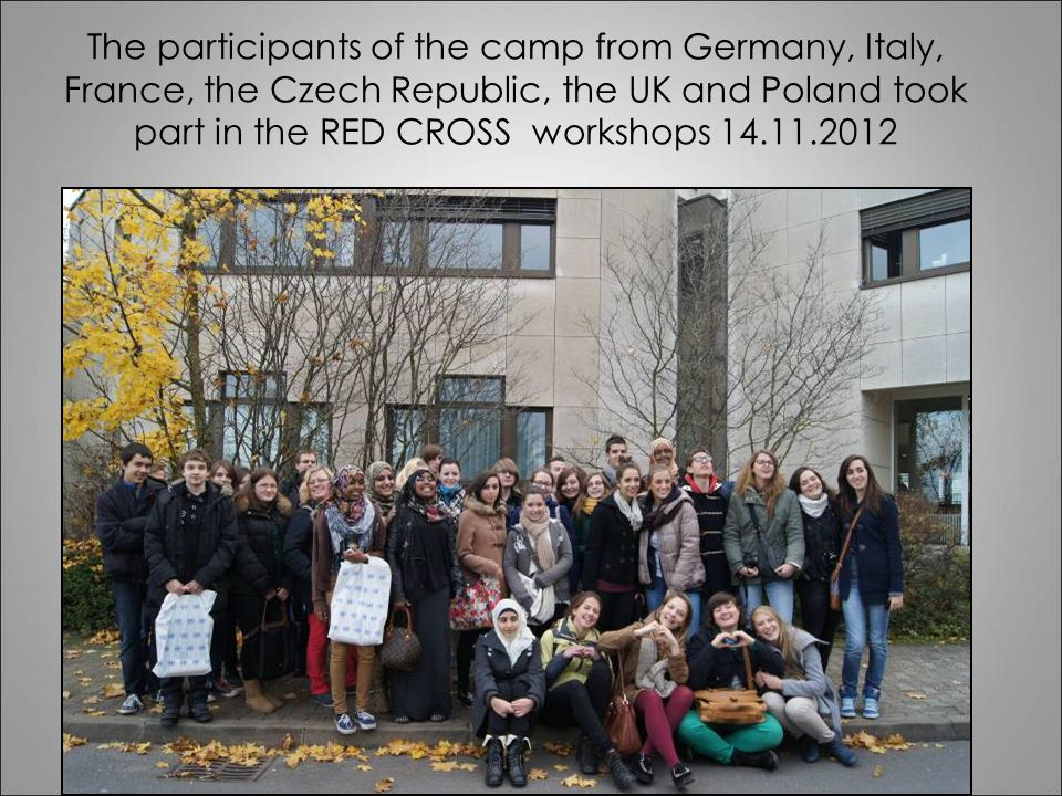 The participants of the camp from Germany, Italy, France, the Czech Republic, the UK and Poland took part in the RED CROSS workshops 14.11.2012