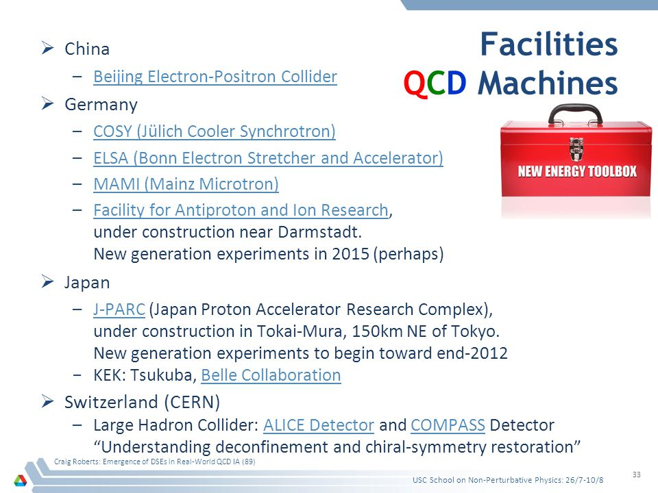 Facilities QCD Machines  China –Beijing Electron-Positron ColliderBeijing Electron-Positron Collider  Germany –COSY (Jülich Cooler Synchrotron)COSY