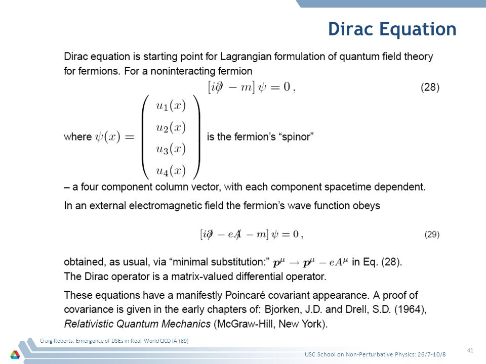 Dirac Equation USC School on Non-Perturbative Physics: 26/7-10/8 Craig Roberts: Emergence of DSEs in Real-World QCD IA (89) 41