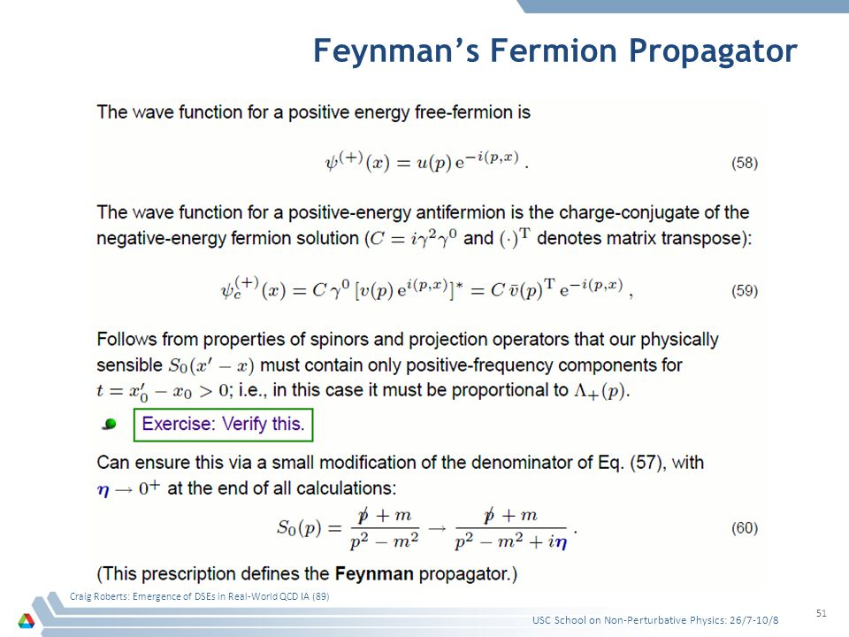 Feynman's Fermion Propagator USC School on Non-Perturbative Physics: 26/7-10/8 Craig Roberts: Emergence of DSEs in Real-World QCD IA (89) 51