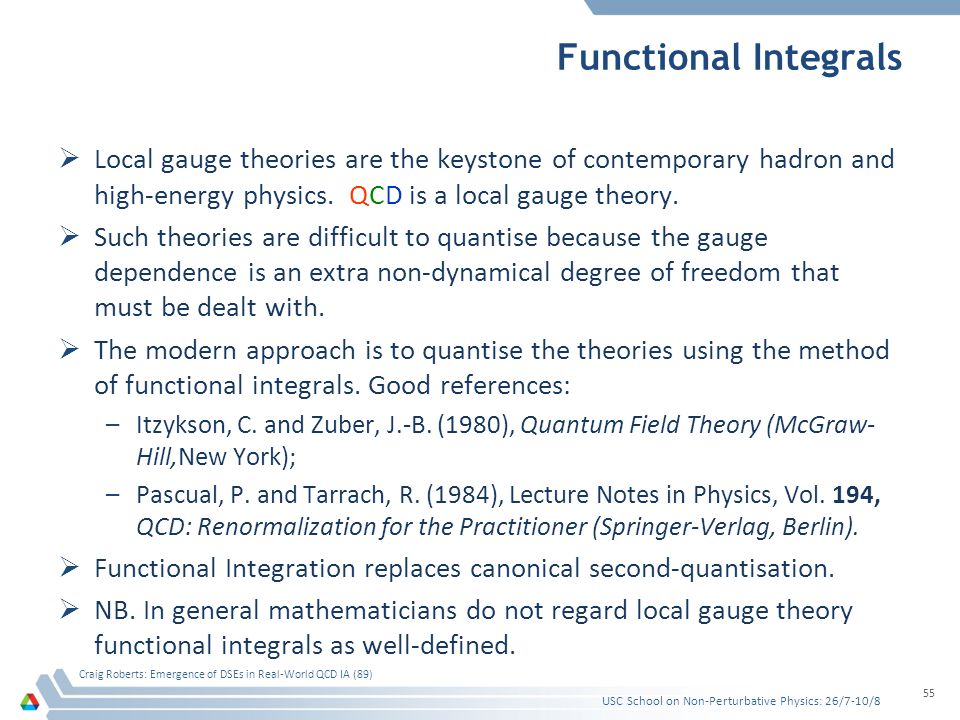 Functional Integrals  Local gauge theories are the keystone of contemporary hadron and high-energy physics. QCD is a local gauge theory.  Such theor