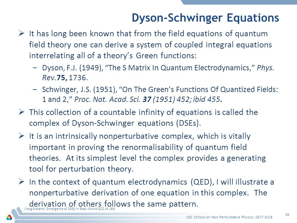 Dyson-Schwinger Equations  It has long been known that from the field equations of quantum field theory one can derive a system of coupled integral e