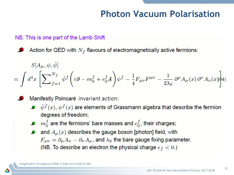 Photon Vacuum Polarisation USC School on Non-Perturbative Physics: 26/7-10/8 Craig Roberts: Emergence of DSEs in Real-World QCD IA (89) 57 invariant a