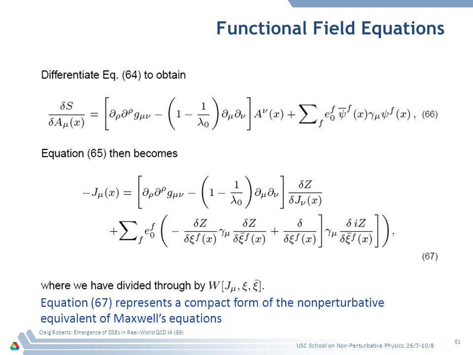 Functional Field Equations USC School on Non-Perturbative Physics: 26/7-10/8 Craig Roberts: Emergence of DSEs in Real-World QCD IA (89) 61 Equation (6