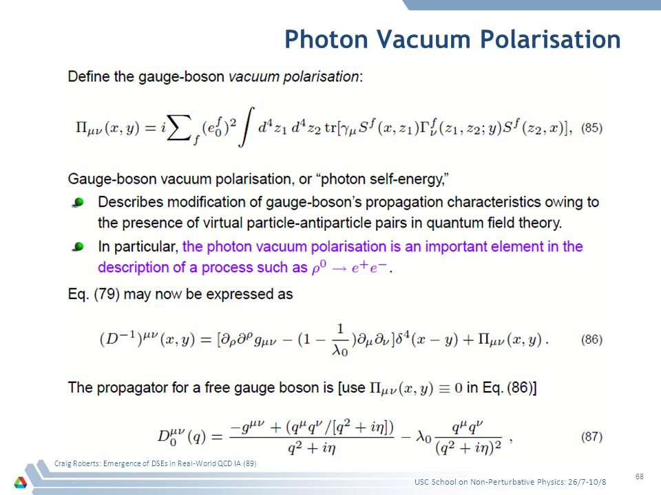 Photon Vacuum Polarisation USC School on Non-Perturbative Physics: 26/7-10/8 Craig Roberts: Emergence of DSEs in Real-World QCD IA (89) 68