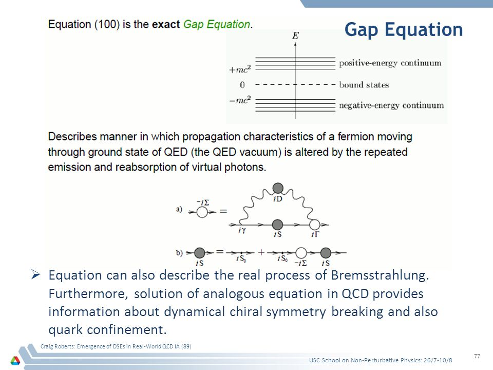 Gap Equation  Equation can also describe the real process of Bremsstrahlung. Furthermore, solution of analogous equation in QCD provides information