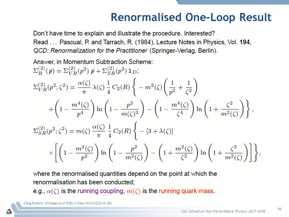 Renormalised One-Loop Result USC School on Non-Perturbative Physics: 26/7-10/8 Craig Roberts: Emergence of DSEs in Real-World QCD IA (89) 86