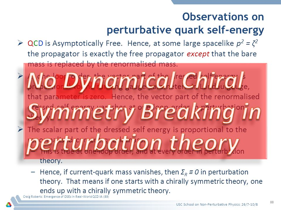 Observations on perturbative quark self-energy  QCD is Asymptotically Free. Hence, at some large spacelike p 2 = ζ 2 the propagator is exactly the fr