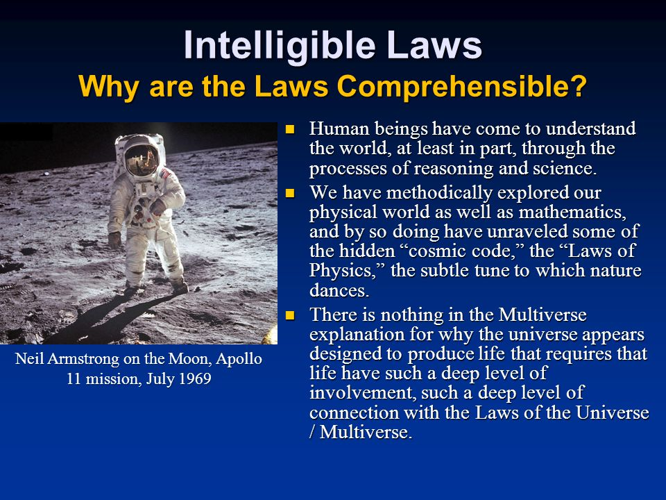 Intelligible Laws Why are the Laws Comprehensible.