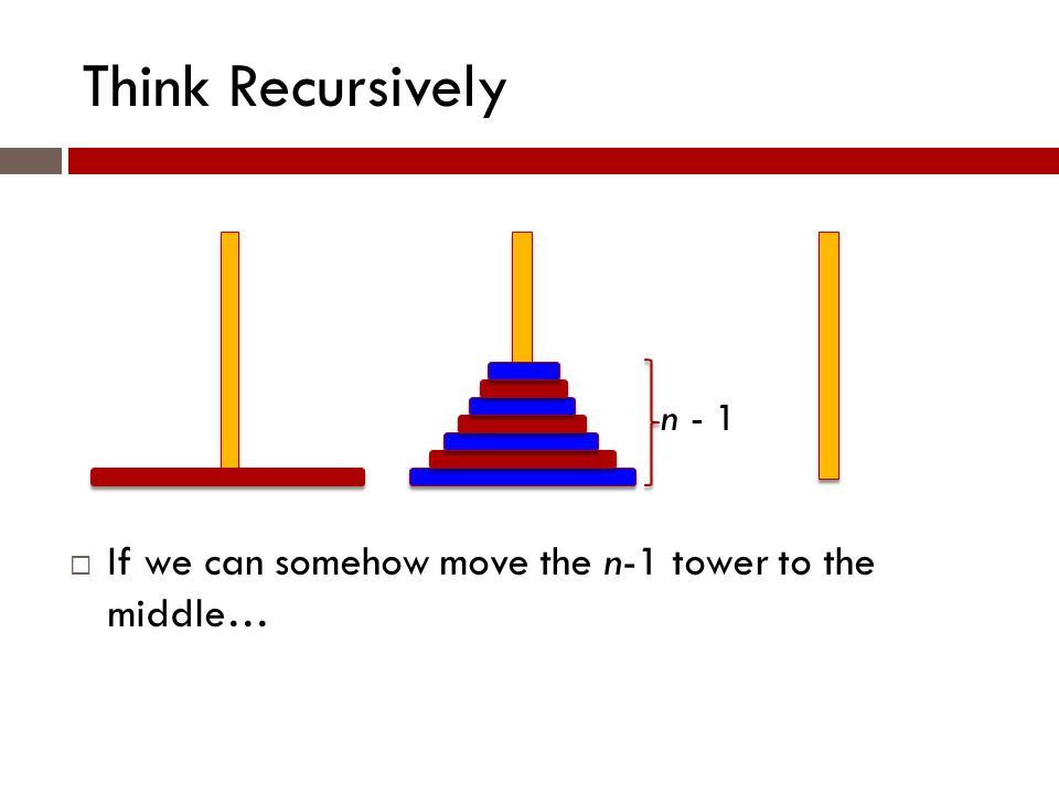 Think Recursively n - 1  If we can somehow move the n-1 tower to the middle…