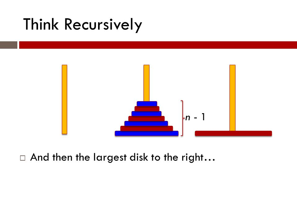 Think Recursively n - 1  And then the largest disk to the right…