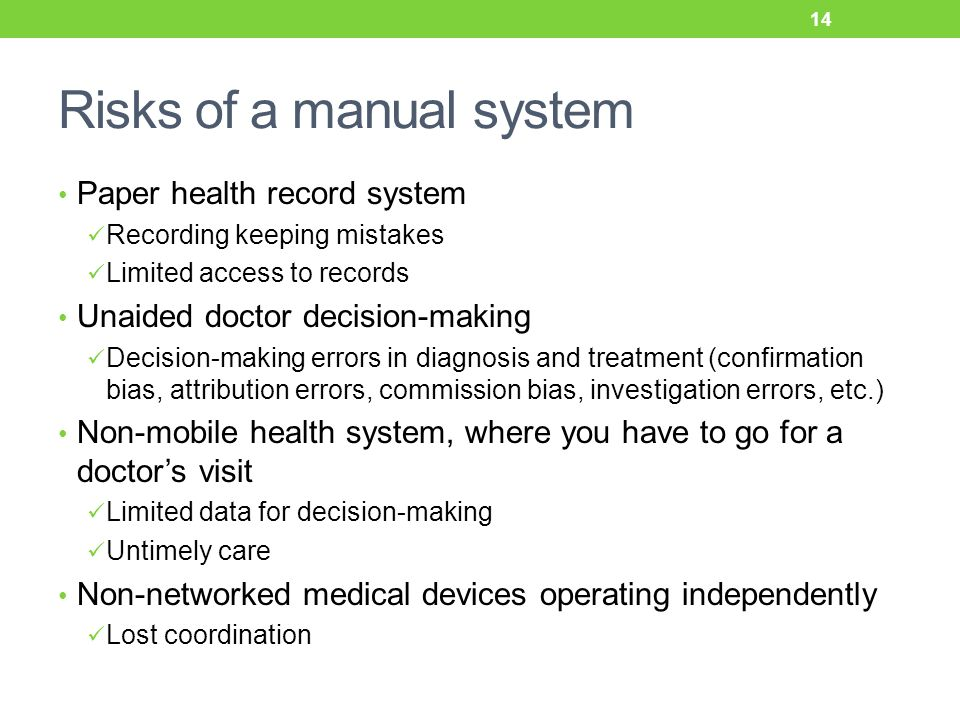 Risks of a manual system Paper health record system Recording keeping mistakes Limited access to records Unaided doctor decision-making Decision-making errors in diagnosis and treatment (confirmation bias, attribution errors, commission bias, investigation errors, etc.) Non-mobile health system, where you have to go for a doctor's visit Limited data for decision-making Untimely care Non-networked medical devices operating independently Lost coordination 14