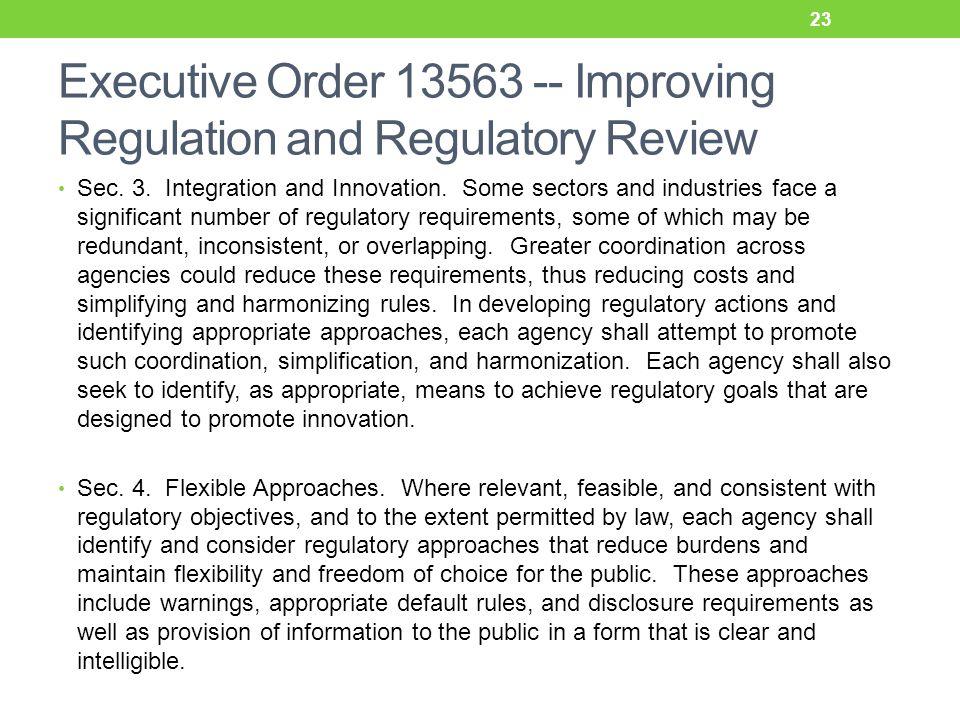 Executive Order 13563 -- Improving Regulation and Regulatory Review Sec.