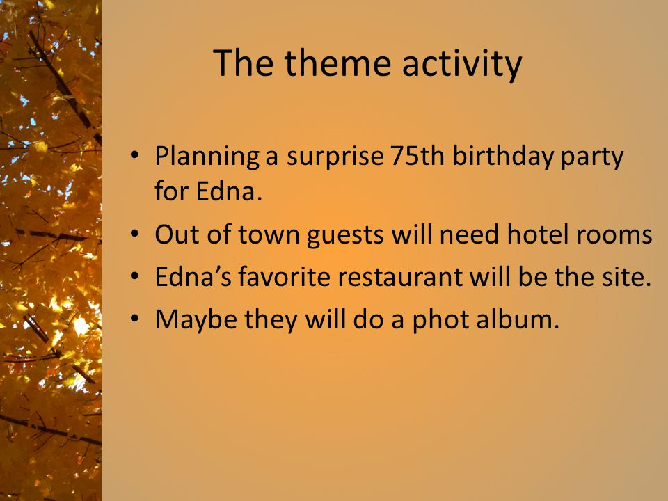 The theme activity Planning a surprise 75th birthday party for Edna.