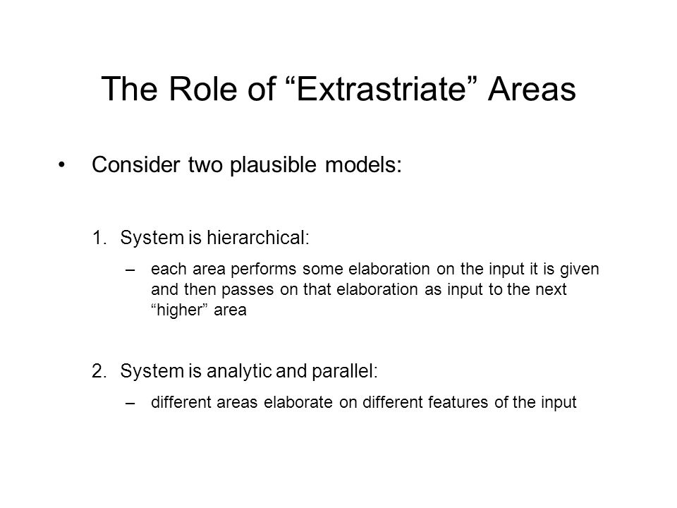 The Role of Extrastriate Areas Consider two plausible models: 1.System is hierarchical: –each area performs some elaboration on the input it is given and then passes on that elaboration as input to the next higher area 2.System is analytic and parallel: –different areas elaborate on different features of the input
